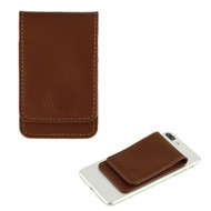 *Sale* Genuine Leather Flip Adhesive Dual Slot Card Pocket Pouch with Snap Fastener - Brown
