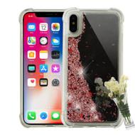Mirror Finish Confetti Quicksand Glitter Case for iPhone X - Rose Gold
