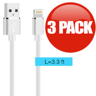 Luxmo Gummy Lightning Connector to USB Charge and Sync Cable - 3 Pack White