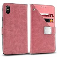 Cosmopolitan Leather Canvas Wallet Case for iPhone X - Pink