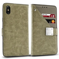 *Sale* Cosmopolitan Leather Canvas Wallet Case for iPhone X - Grey