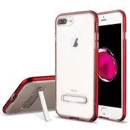 Bumper Shield Clear Transparent TPU Case with Magnetic Kickstand for iPhone 8 Plus / 7 Plus - Red