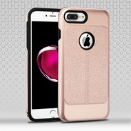 Leather Texture Anti-Shock Hybrid Protection Case for iPhone 8 Plus / 7 Plus - Rose Gold