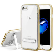 Bumper Shield Clear Transparent TPU Case with Magnetic Kickstand for iPhone 8 / 7 - Gold