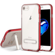 Bumper Shield Clear Transparent TPU Case with Magnetic Kickstand for iPhone 8 / 7 - Red