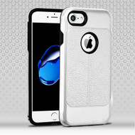 Leather Texture Anti-Shock Hybrid Protection Case for iPhone 8 / 7 - Silver