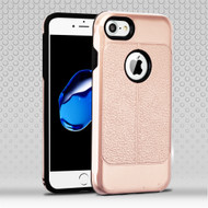 Leather Texture Anti-Shock Hybrid Protection Case for iPhone 8 / 7 - Rose Gold