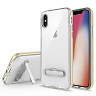 Bumper Shield Clear Transparent TPU Case with Magnetic Kickstand for iPhone X - Gold