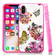 Tough Anti-Shock Hybrid Protection Case for iPhone X - Butterfly and Flowers