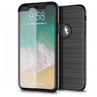 360 Full Body Protection Fusion Case with Tempered Glass Screen Protector for iPhone X - Black