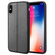 *Sale* Rubberized Leather Feel Backing TPU Case for iPhone X - Black