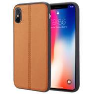 *Sale* Rubberized Leather Feel Backing TPU Case for iPhone X - Brown