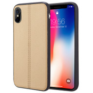 *Sale* Rubberized Leather Feel Backing TPU Case for iPhone X - Gold