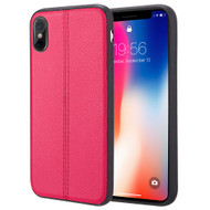 *Sale* Rubberized Leather Feel Backing TPU Case for iPhone X - Red