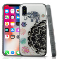 *Sale* Tough Anti-Shock Triple Layer Hybrid Case for iPhone X - Lucky Elephant Mandala