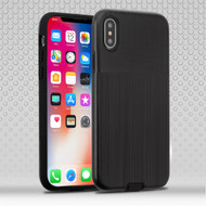 Double Texture Anti-Shock Hybrid Protection Case for iPhone X - Black