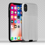*Sale* Double Texture Anti-Shock Hybrid Protection Case for iPhone X - Silver