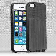 Double Texture Anti-Shock Hybrid Protection Case for iPhone SE / 5S / 5 - Black