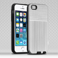 Double Texture Anti-Shock Hybrid Protection Case for iPhone SE / 5S / 5 - Silver