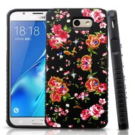 *Sale* Tough Anti-Shock Hybrid Protection Case for Samsung Galaxy J7 (2017) / J7 V / J7 Perx - Romantic Love Flowers