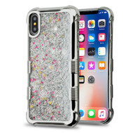 *Sale* Tuff Lite Quicksand Glitter Electroplating Transparent Case for iPhone X - Silver
