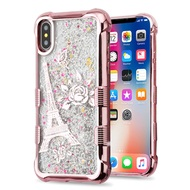 Tuff Lite Quicksand Glitter Electroplating Transparent Case for iPhone X - Eiffel Tower