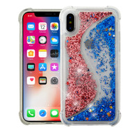 *Sale* Confetti Dual Chamber Quicksand Glitter Transparent Case for iPhone X - Rose Gold Blue