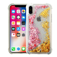 *Sale* Confetti Dual Chamber Quicksand Glitter Transparent Case for iPhone X - Pink Gold