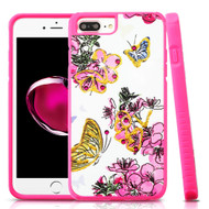 Tough Anti-Shock Hybrid Protection Case for iPhone 8 Plus / 7 Plus / 6S Plus / 6 Plus - Butterfly and Flowers