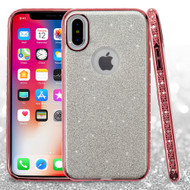 *Sale* Full Glitter Hybrid Protective Case with Rhinestones for iPhone X - Rose Gold