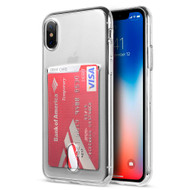 *Sale* Rubberized Crystal TPU Case with Card Slot for iPhone X - Clear