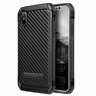 *Sale* Tough Anti-Shock Hybrid Case with Kickstand for iPhone X - Carbon Fiber