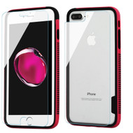 *Sale* Surround Bumper Shield + Front and Back Tempered Glass Screen Protector for iPhone 8 Plus / 7 Plus - Hot Pink