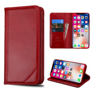 Mybat Genuine Leather Wallet Case for iPhone X - Red