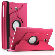 360 Degree Rotating Leather Hybrid Case for Samsung Galaxy Tab E 8.0 - Hot Pink
