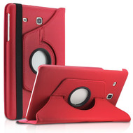 360 Degree Rotating Leather Hybrid Case for Samsung Galaxy Tab E 8.0 - Red