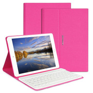 Slim Leather Folio Kickstand Case with Removable Bluetooth Wireless Keyboard for iPad Pro 9.7 inch - Hot Pink