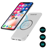 True Wireless Dual USB Power Bank Qi Inductive Charging Pad 8000mAh Battery - White