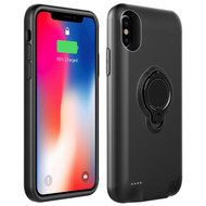 Smart Power Bank Battery Case 5000mAh with Ring Holder for iPhone X - Black