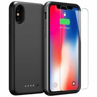 Smart Power Bank Battery Case 4000mAh with Tempered Glass Screen Protector for iPhone X - Black