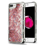 Tuff Lite Quicksand Glitter Electroplating Transparent Case for iPhone 8 Plus / 7 Plus / 6S Plus / 6 Plus - Rose Gold