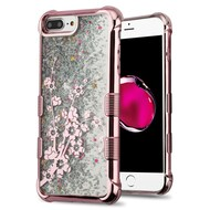 Tuff Lite Quicksand Glitter Electroplating Case for iPhone 8 Plus / 7 Plus / 6S Plus / 6 Plus - Spring Flowers Rose Gold