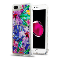 Tuff Lite Quicksand Glitter Transparent Case for iPhone 8 Plus / 7 Plus / 6S Plus / 6 Plus - Watercolor Hibiscus