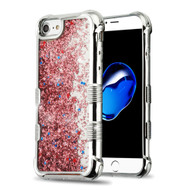 Tuff Lite Quicksand Glitter Electroplating Transparent Case for iPhone 8 / 7 / 6S / 6 - Rose Gold