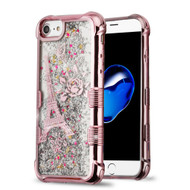 Tuff Lite Quicksand Glitter Electroplating Transparent Case for iPhone 8 / 7 / 6S / 6 - Eiffel Tower Rose Gold