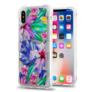 Tuff Lite Quicksand Glitter Transparent Case for iPhone X - Watercolor Hibiscus