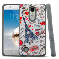 *Sale* Tough Anti-Shock Triple Layer Hybrid Case for LG Aristo / Fortune / K8 (2017) / Phoenix 3 - Eiffel Tower