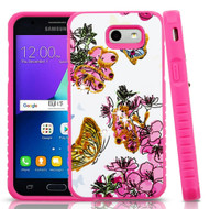 Tough Anti-Shock Hybrid Case for Samsung Galaxy J3 (2017) / J3 Emerge / J3 Prime / Amp Prime 2 - Butterfly and Flowers