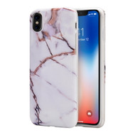 Marble IMD Soft TPU Case for iPhone X - White Gold
