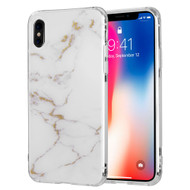 Marble IMD Soft TPU Glitter Case for iPhone X - White